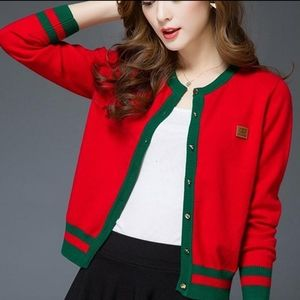 Coming - NWT Red Green Lining Cardigan